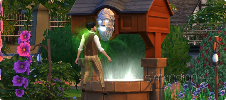 Zufriedenheit wünschen am Die Sims 4 Wunschbrunnen