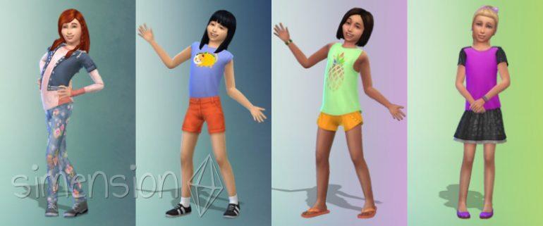 Vorgefertigte Looks für Mädchen in Die Sims 4 Kinderzimmer-Accessoires