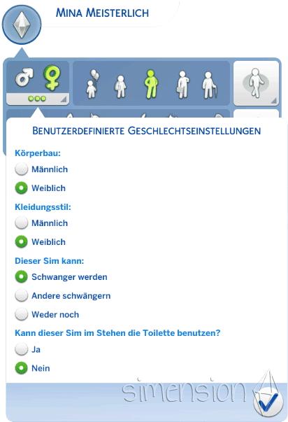 Die Sims 4 Benutzerdefinierte Geschlechtereinstellung
