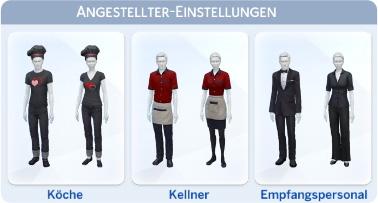 Dienstkleidung für Restaurant-Angestellte festlegen in Die Sims 4