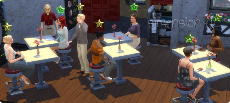 Die Sims 4 Restaurant mit optimaler Startaufstellung des Gastronomiebereichs