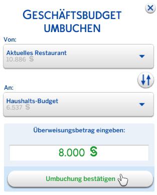 Geschäftsbudget ins Restaurant umbuchen in Die Sims 4 Gaumenfreuden