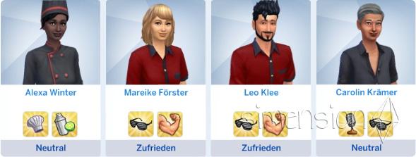 Zufriedenehut der Angestellten in Die Sims 4 Restaurants
