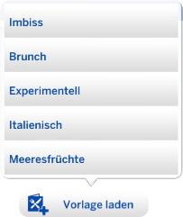 Vorlagen für die Restaurant-Spiesekarte in Die Sims 4 Gaumenfreuden