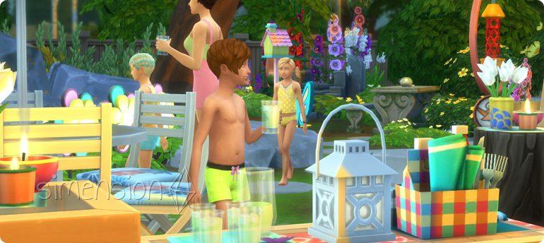 Die Sims 4 Gartenspass-Accessoires mit neuen Getränken Limonade, Zitronenschweiß und Eistee