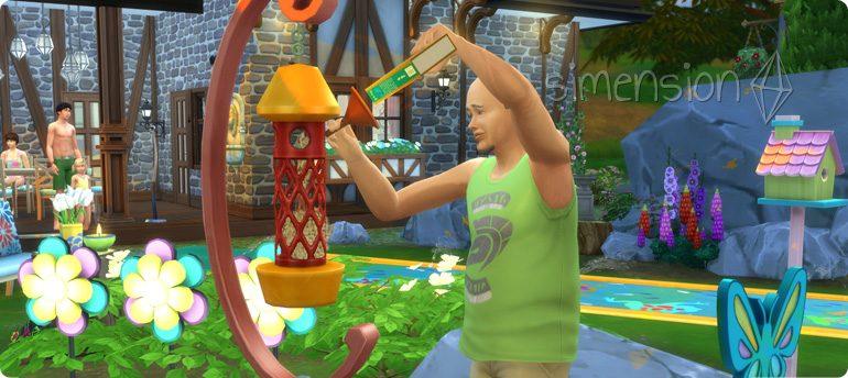Die Sims 4 Gartenspass-Accessoires mit Vogelhäuschen