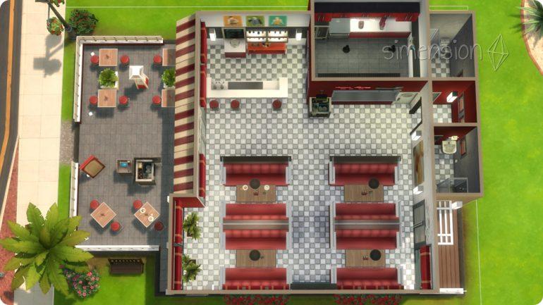 Küche, Tische und Toiletten auf einer Ebene im selbst gebauten Die Sims 4 Restaurant