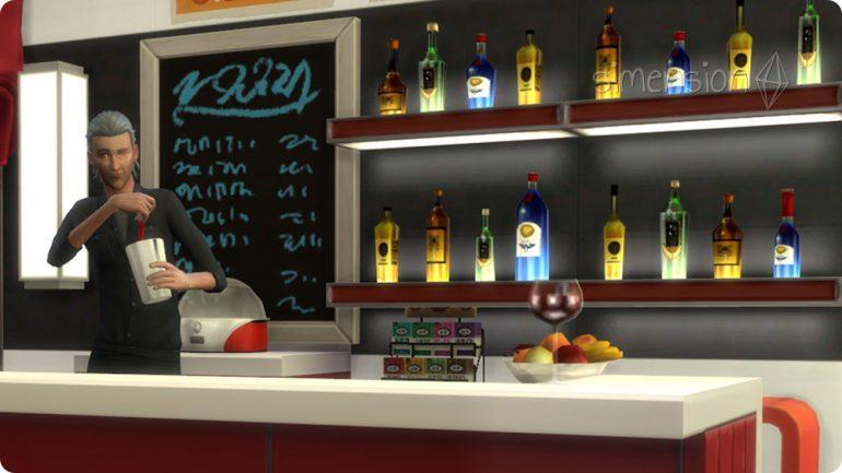 Bar in selbst gebautem Die Sims 4 Restaurant einrichten