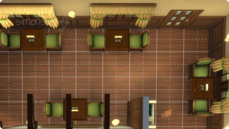 Eigenes Die Sims 4 Restaurant einrichten mit viel Bewegungsfreiraum zwischen TIschen