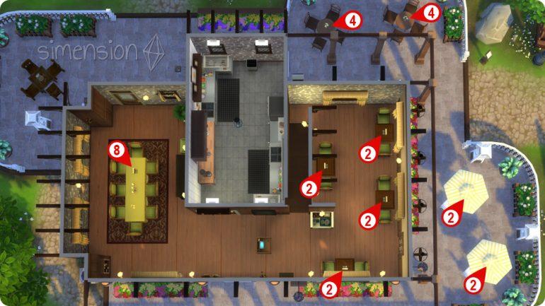 eigenes Restaurant einrichten mit verschieden großen Tischen in Die Sims 4