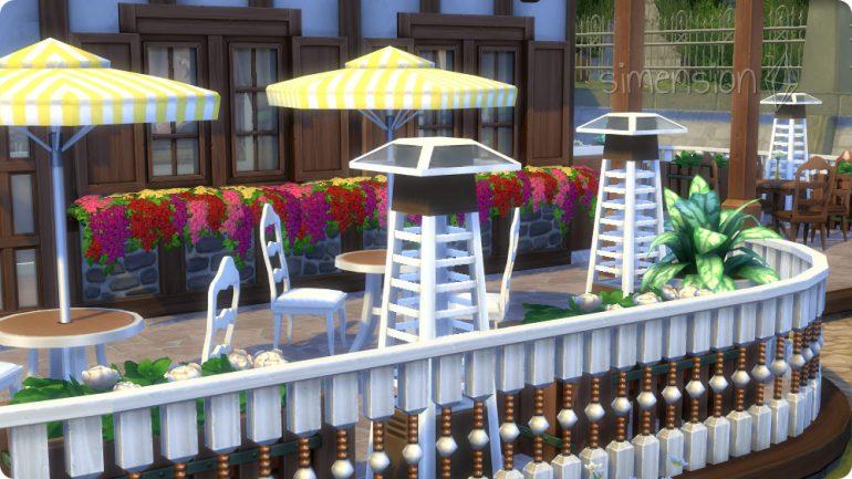 Die Sims 4 Restaurant einrichten mit Wärmelampen für den Außenbereich