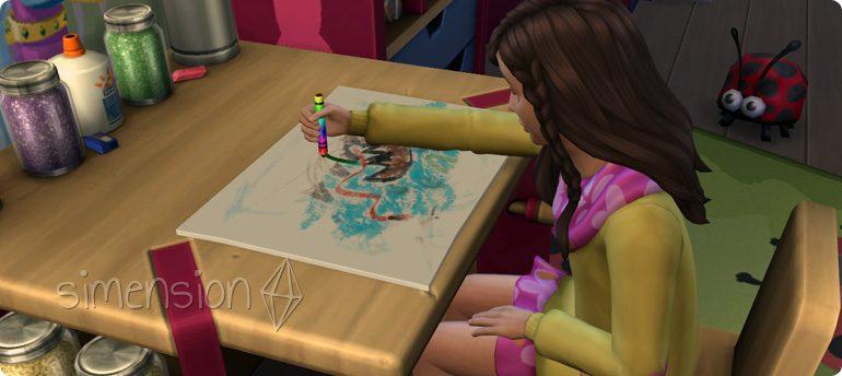 Die Sims 4 Fähigkeit Malerei mit dem Kinder-Bestreben Kreatives Wunderkind unterstützen