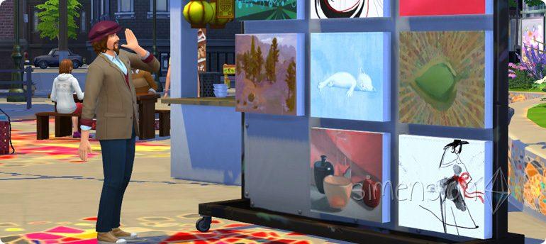 mit der Fähigkeit Malerei Gemälde auf dem Flohmarkt verkaufen in Die Sims 4 Großstadtleben