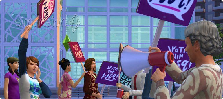 Proteste in Die Sims 4 Großstadtleben