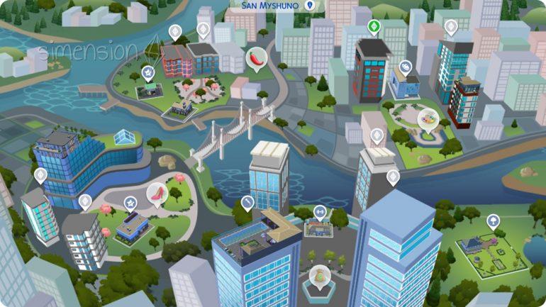 Übersicht über die Welt San Myshuno aus Die Sims 4 Großstadtleben