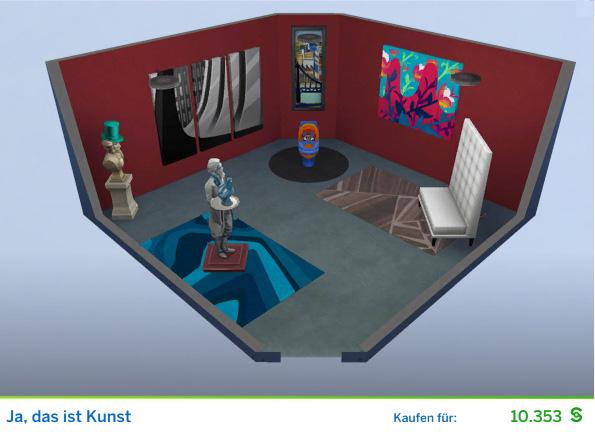 Gestaltetes Zimmer Ja, das ist Kunst für Kunstkritiker der Die Sims 4 Karriere Kunstkritiker