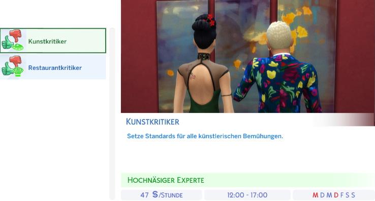 Berufszweig Kunstkritiker der Die Sims 4 Karriere Kritiker