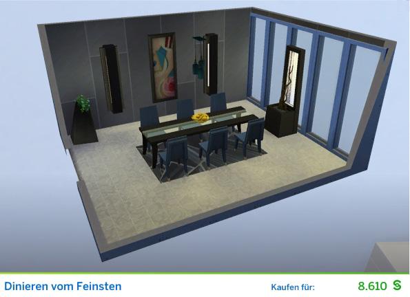Gestaltetes Zimmer Dinieren vom Feinsten für Restaurantkritiker der Die Sims 4 Karriere Kunstkritiker