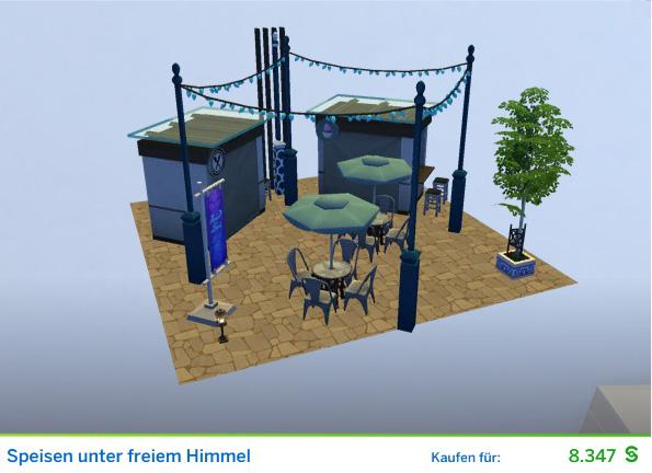 Gestaltetes Zimmer Unter freiem Himmel für Restaurantkritiker der Die Sims 4 Karriere Kunstkritiker