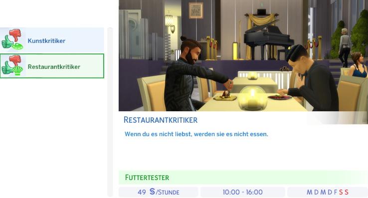 Berufszweig Restaurantkritiker der Die Sims 4 Karriere Kritiker