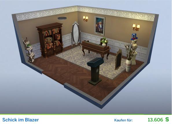 Gestaltetes Zimmer Schick im Blazer für Politiker der Die Sims 4 Karriere Politik