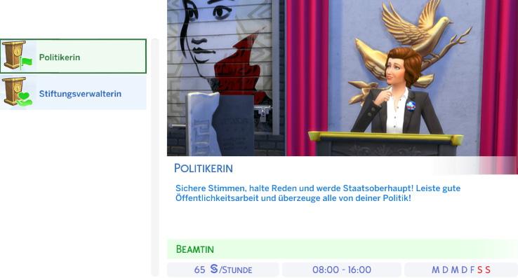 Berufszweig Politiker der Die Sims 4 Karriere Politik