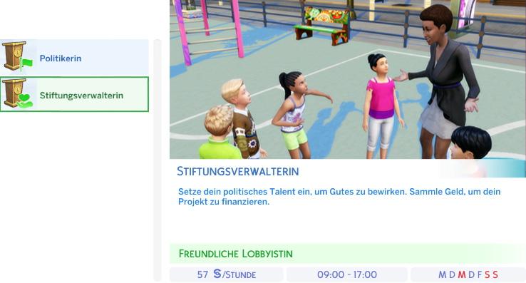 Berufszweig Stiftungsverwalter der Die Sims 4 Karriere Politik