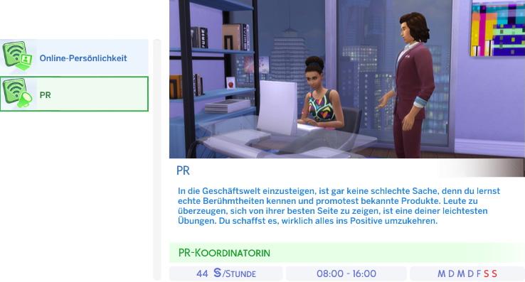 Berufszweig PR der Die Sims 4 Karriere Soziale Medien
