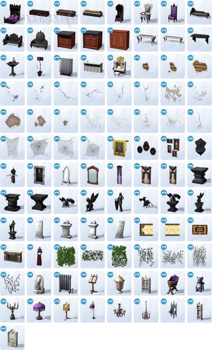 Die Sims 4 Vampire Kaufkatalog mit neuen Möbeln und Dekorationen