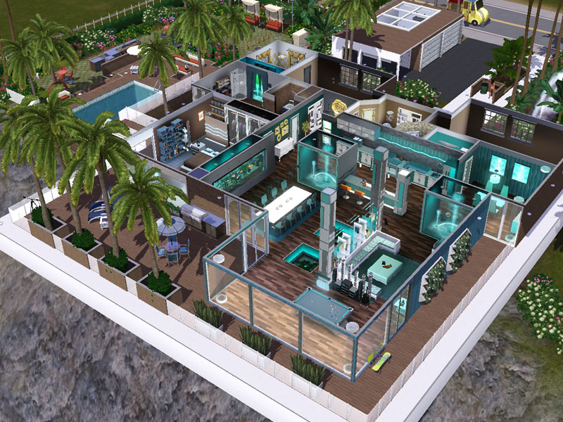 Sims 3 häuser zum nachbauen luxus  Maila - water themed cliff hanging mansion - simension