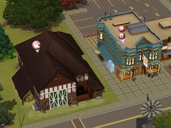 Icon des Diamantbilder Studiogeländes in der Nachbarschaftsansicht von Die Sims 3