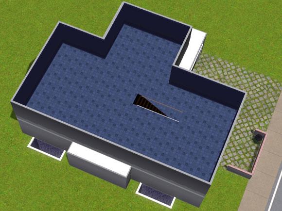 Rohbau eines zeitgenössischen Einfamilienhauses